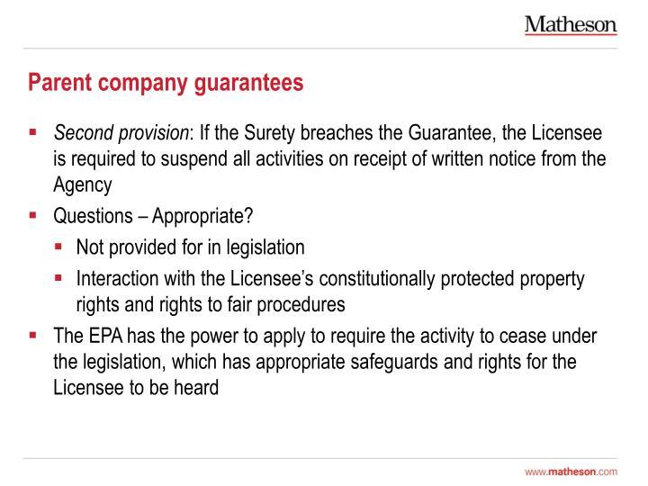 Parent company guarantees