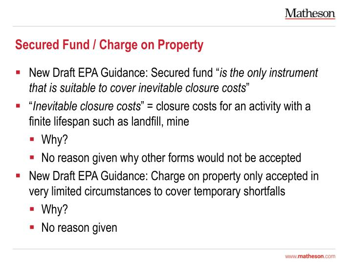Secured Fund / Charge on Property