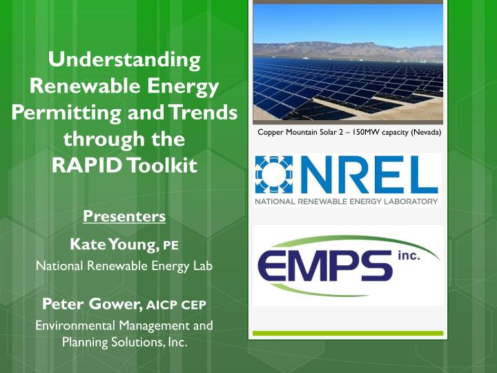Understanding renewable energy permitting and trends through the rapid toolkit