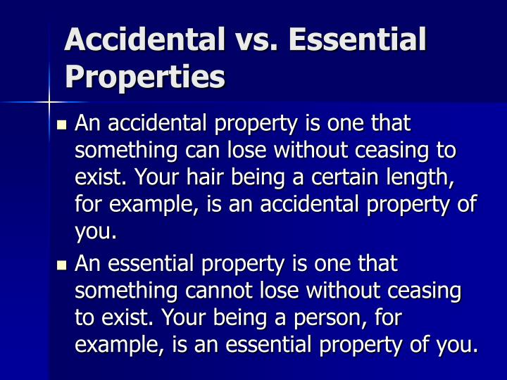 Accidental vs. Essential Properties