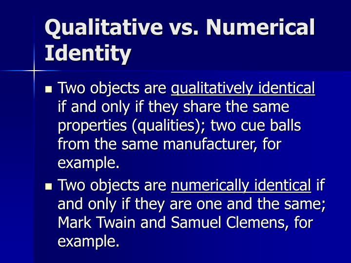 Qualitative vs numerical identity