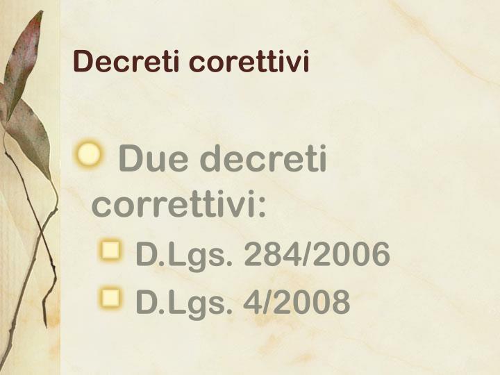 Decreti corettivi