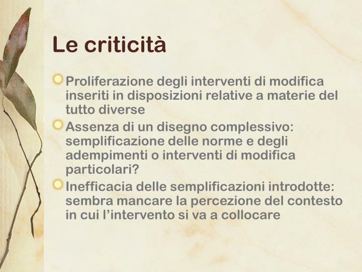 Le criticità