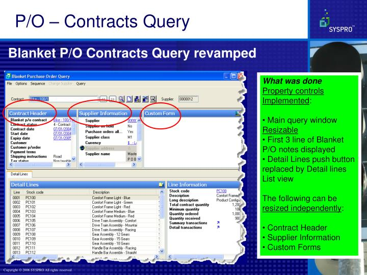 P/O – Contracts Query
