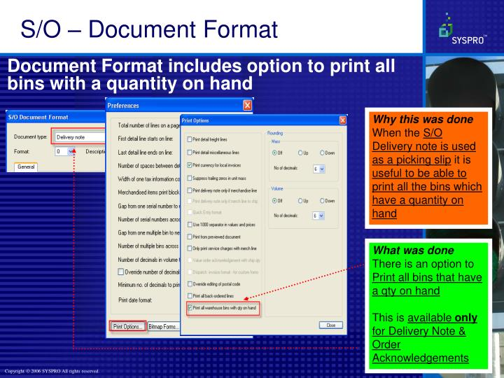 S/O – Document Format
