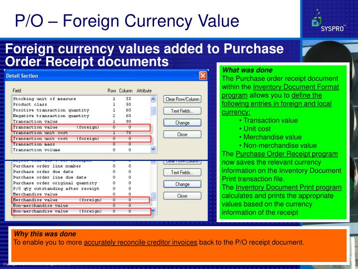 P/O – Foreign Currency Value