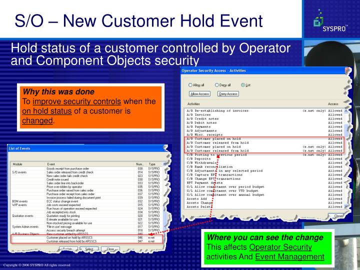 S/O – New Customer Hold Event