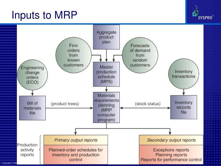 Inputs to MRP