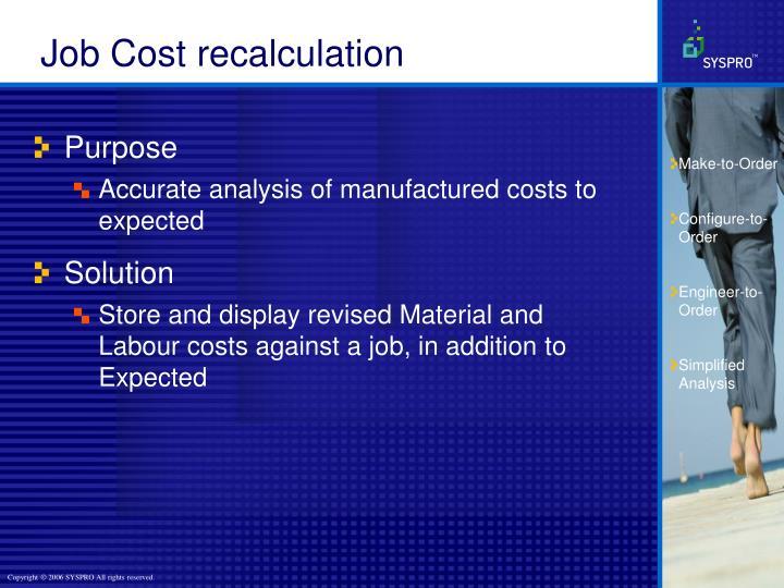Job Cost recalculation