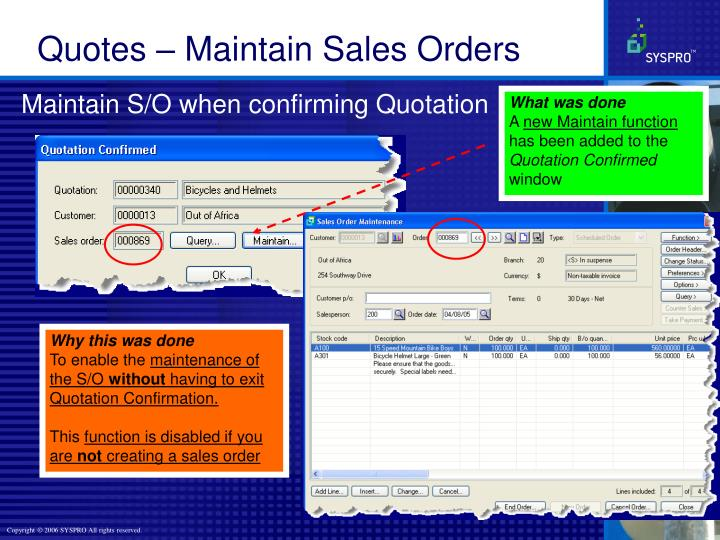 Maintain S/O when confirming Quotation