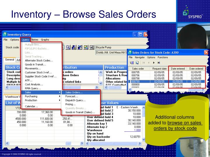 Inventory – Browse Sales Orders