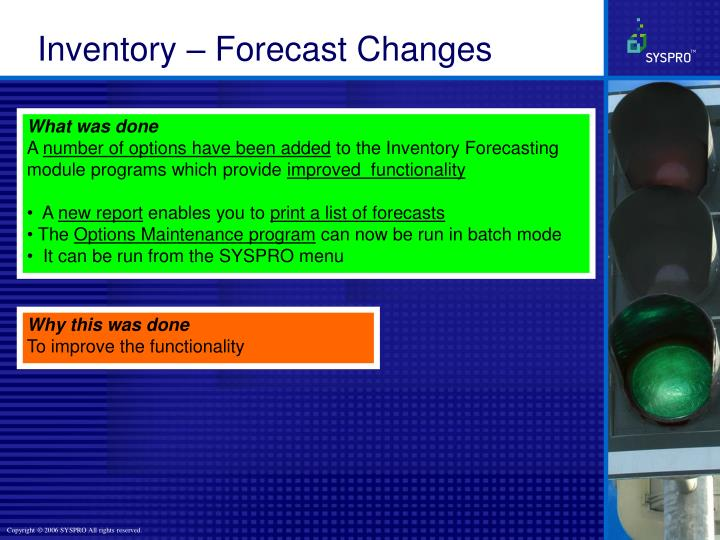 Inventory – Forecast Changes