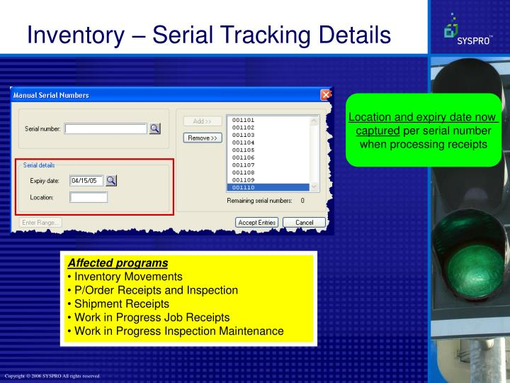 Inventory – Serial Tracking Details