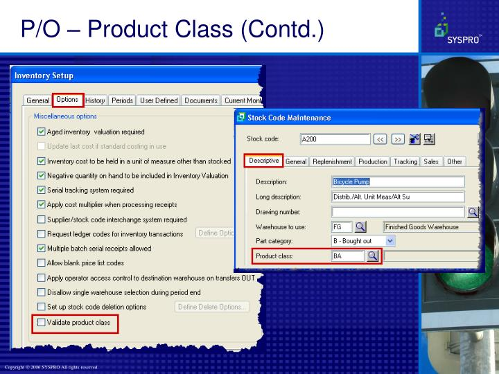 P/O – Product Class (Contd.)