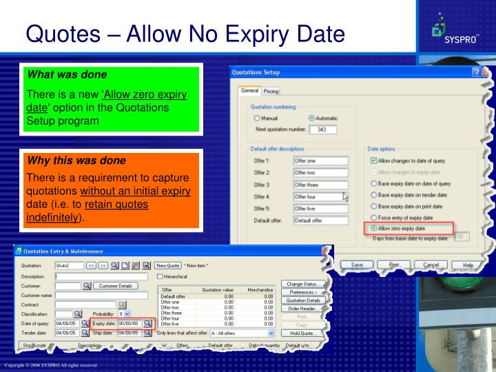 Quotes – Allow No Expiry Date