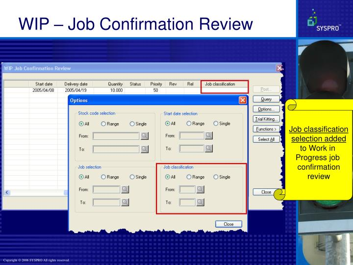 WIP – Job Confirmation Review