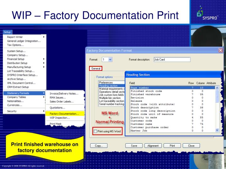 WIP – Factory Documentation Print