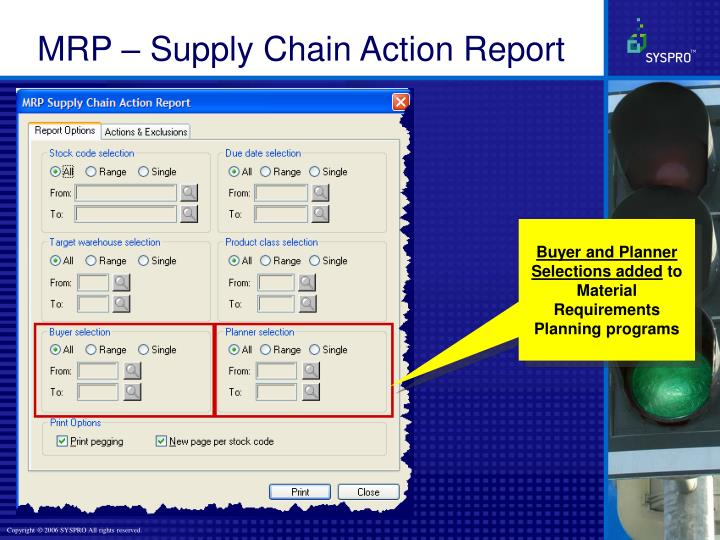 MRP – Supply Chain Action Report