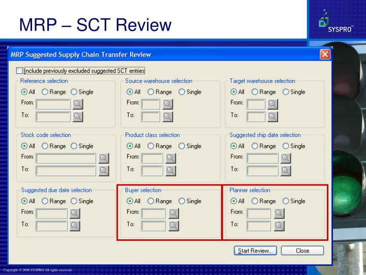 MRP – SCT Review