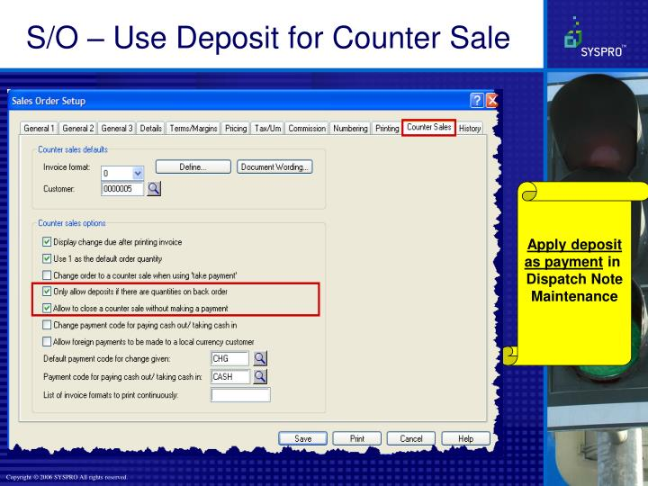 S/O – Use Deposit for Counter Sale