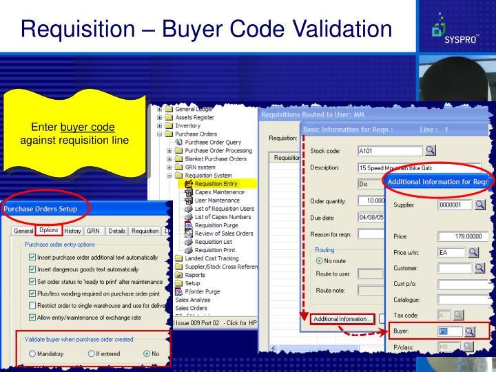 Requisition – Buyer Code Validation