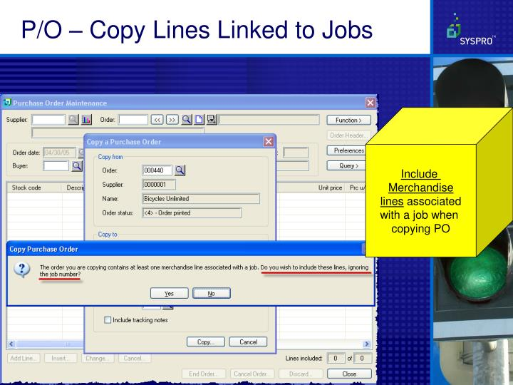 P/O – Copy Lines Linked to Jobs