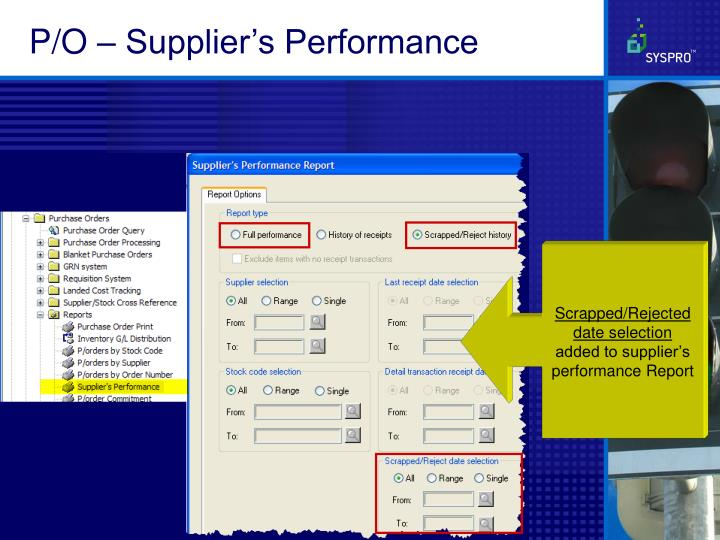 P/O – Supplier's Performance