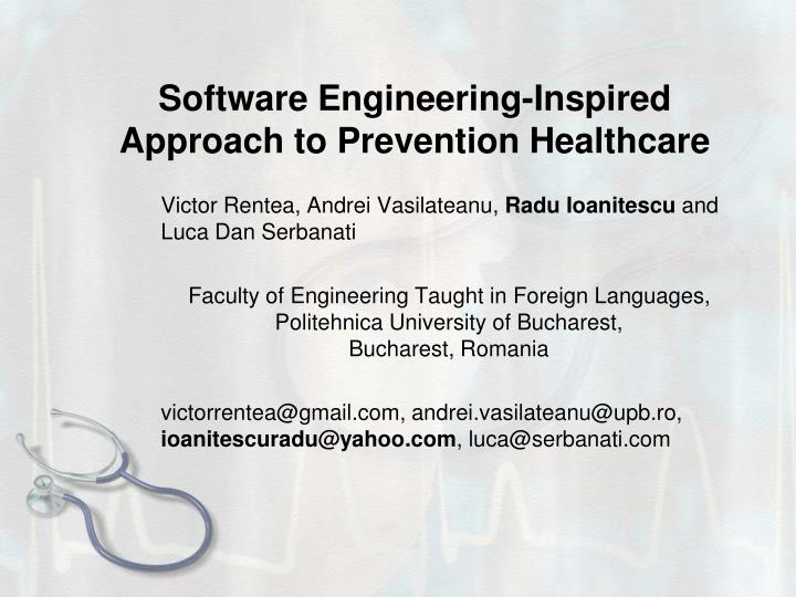 software engineering inspired approach to prevention healthcare n.