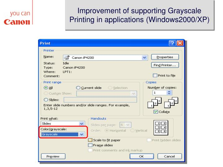 Improvement of supporting Grayscale Printing in applications (Windows2000/XP)