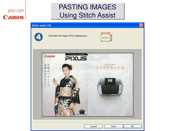 PASTING IMAGES Using Stitch Assist
