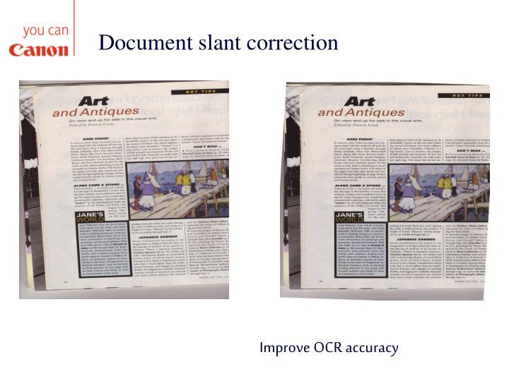 Document slant correction
