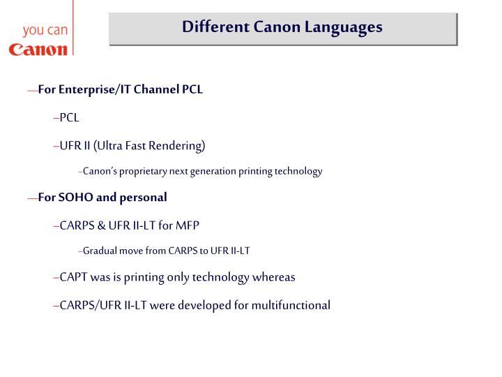 Different Canon Languages