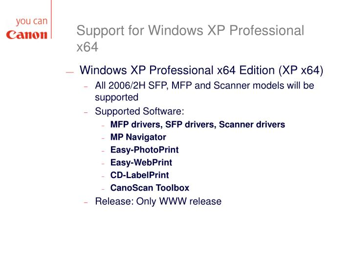 Support for Windows XP Professional x64