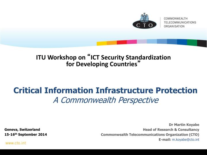 critical information infrastructure protection a commonwealth perspective n.