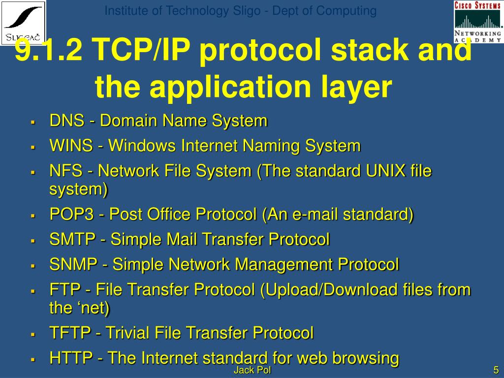 PPT - Semester 2 Chapter 9 The TCP/IP Protocol Suite