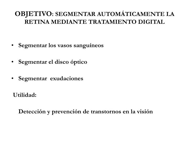 Objetivo segmentar autom ticamente la retina mediante tratamiento digital