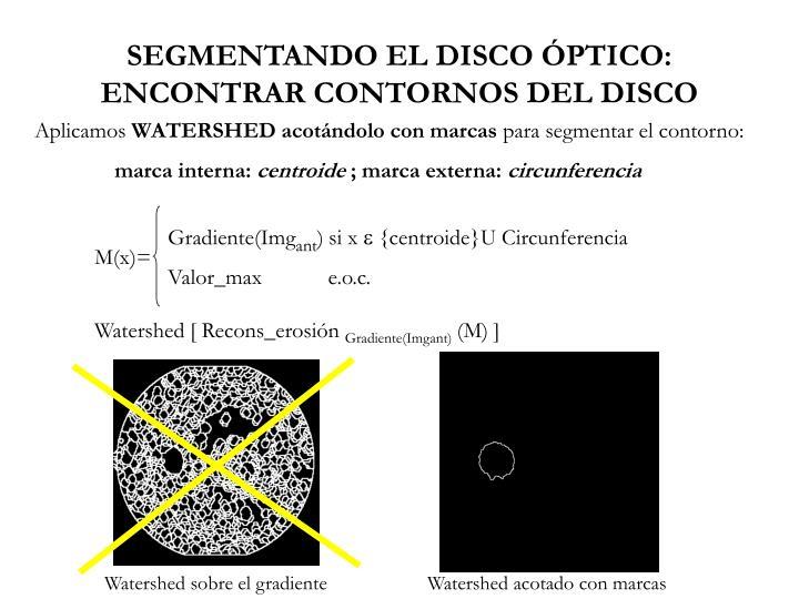 SEGMENTANDO EL DISCO ÓPTICO: ENCONTRAR CONTORNOS DEL DISCO