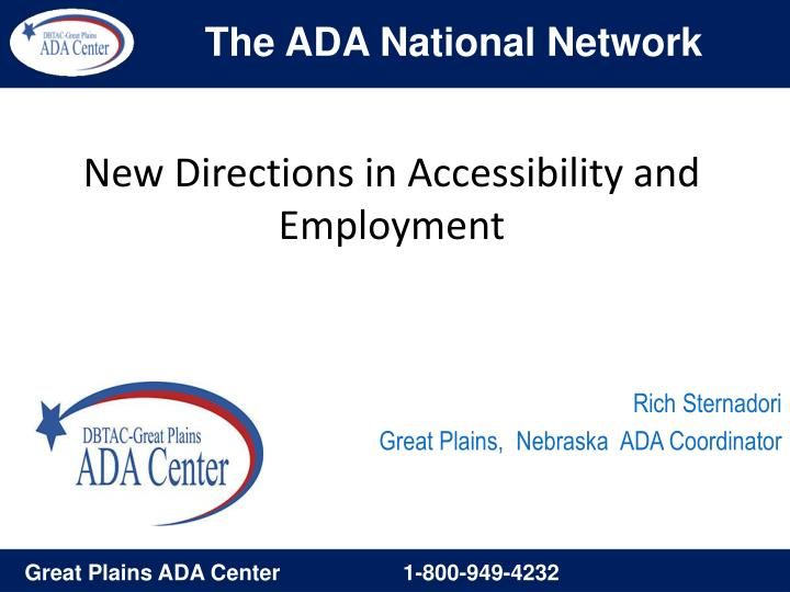 new directions in accessibility and employment n.