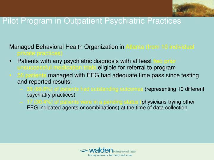 Pilot Program in Outpatient Psychiatric Practices