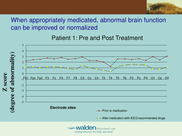When appropriately medicated, abnormal brain function can be improved or normalized