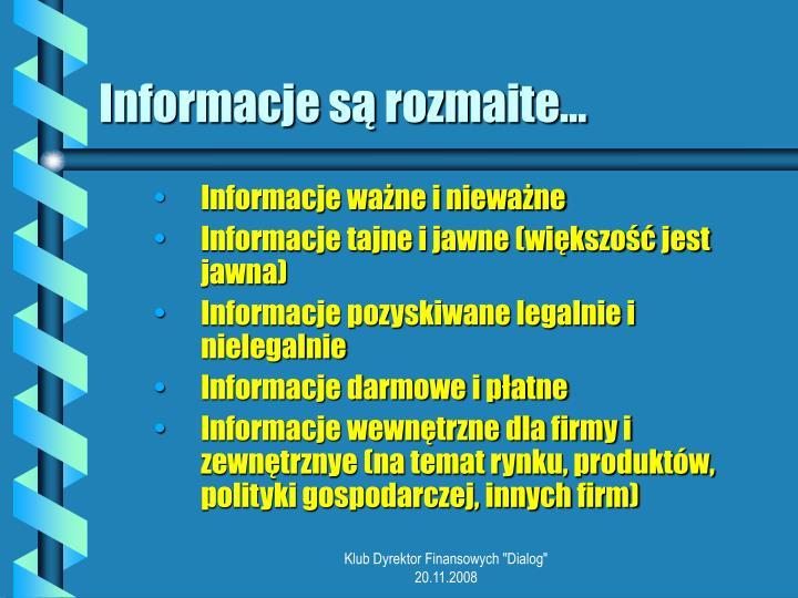 Informacje s rozmaite