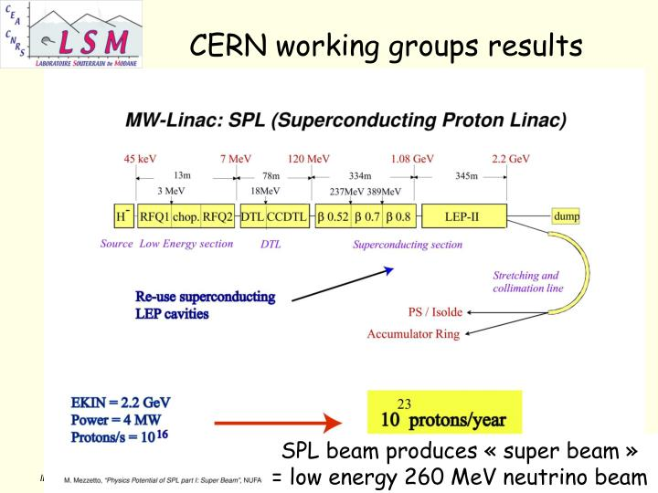 CERN working groups results