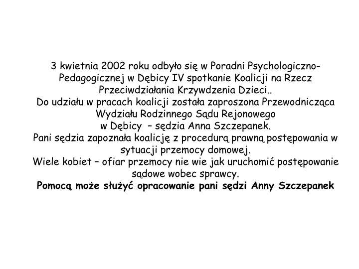3 kwietnia 2002 roku odbyło się w Poradni Psychologiczno-Pedagogicznej w Dębicy IV spotkanie Koalicji na Rzecz Przeciwdziałania Krzywdzenia Dzieci..