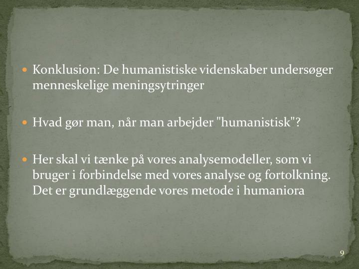 Konklusion: De humanistiske videnskaber undersøger menneskelige meningsytringer