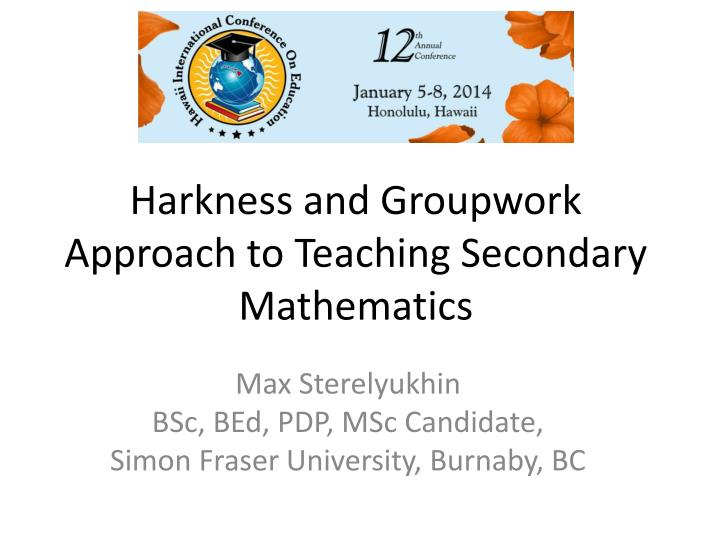 harkness and groupwork approach to teaching secondary mathematics n.