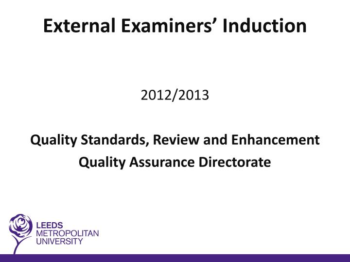 external examiners induction n.