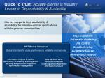 quick to trust actuate iserver is industry leader in dependability scalability