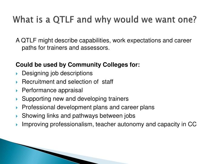 What is a QTLF and why would we want one?