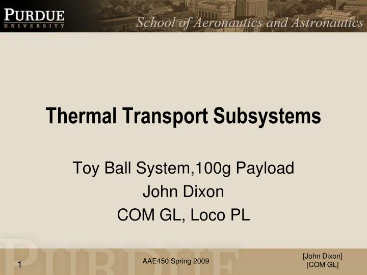 thermal transport subsystems n.