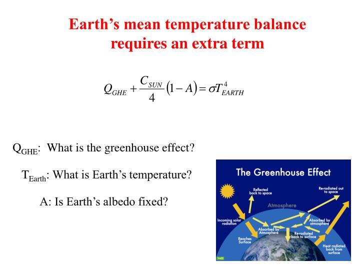 Earth's mean temperature balance